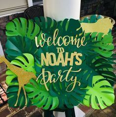 Welcome to Noah's Party ! Welcome Party Sign Jungle Theme Birthday Party Welcome to Noah's Party ! Welcome Party Sign Jungle Theme Birthday Party Safari Theme Birthday, Jungle Theme Parties, Wild One Birthday Party, Safari Birthday Party, Boy Birthday Parties, Birthday Party Decorations, Birthday Ideas, Jungle Theme Decorations, Party Banner