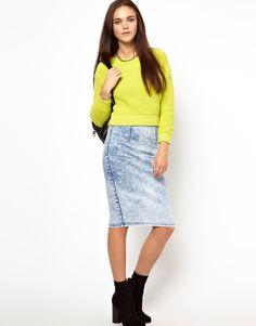 Pencil Skirt In Acid Wash Denim