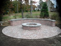 fire pit ideas | Fire pit with a seating area built in. Extra seating is always nice.