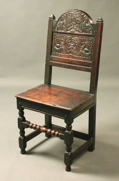 Oak backstool with good original carving and patina, 17th Century (1680 England)