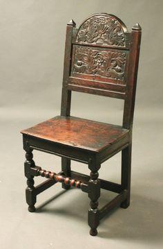 Oak backstool with good original carving and patina, 17th Century (1680 England)