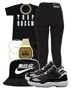 """""""she my trap queen, let her hit the bando"""" by jadeessxo ❤ liked on Polyvore featuring Dr. Denim, Melissa Odabash, Topshop, NIKE and Kenneth Jay Lane"""