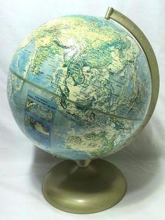 Atomic Era Rand McNally World Portrait #Globe Raised Topographical A-110000-751