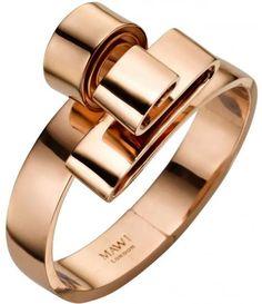 Gold Wave Spiral Bangle//