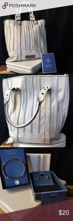 """🦋VERA WANG BUNDLE- NWT JEWELRY & BIG BUCKET BAG 🦋VERA WANG BUNDLE- NWT JEWELRY & BIG BUCKET BAG. USED BUT COOL LARGE 3COMPARTMENT BAG - ONE STAIN ON BOTTOM & A LITTLE PIPING ON HANDLE AD SHOWN. 15""""Lx13""""W WITH 10-12"""" ADJ DROP. DOES NOT HAVE CROSSBODY STRAP. VEGAN Vera Wang Bags"""