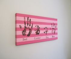 "Family Handprint with Kit, Custom, Canvas Art, 12x24"" by SnowFlowerArts"