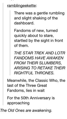 This is so funny. I love it when I join an old fandom (or if I'm already part of one). We get all the honors.