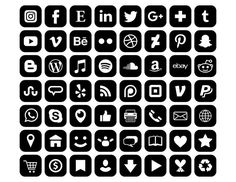 Black Social Media Icons, Social Icons, Best Logo Fonts, Whatsapp Logo, Black App, Iphone Home Screen Layout, Apple Icon, Website Icons, Iphone App Design