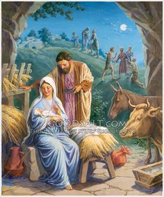 """And this shall be a sign unto you; Ye shall find the babe wrapped in swaddling clothes, lying in a manger."" KJV Luke 2:12  Nativity The Standard Publishing Collection"