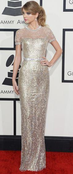 taylor swift grammys dress | taylor swift at grammys 2014 - silver gucci dress - handbag.com