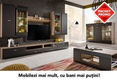 The Media Set Cool will make your interior elegant and unique. Dimensions: Width 280 cm x Height 195 cm x Depth 46 cm Colour: - Fronts in Graphite Matt Living Room Wall Units, Living Room Sets, Centro Tv, Bedroom Desk, Remo, My Dream Home, Room Interior, Modern Furniture, Family Room