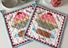 """Eek! I couldn't be more excited about posting my first pattern here on Pink Simplicity! Meet """"Baked With Love"""" – a fun little hot pad pattern for you all to enjoy. For those of you who are still working on your Vintage Farm Girl Quilts, the block is 6"""" finished..."""