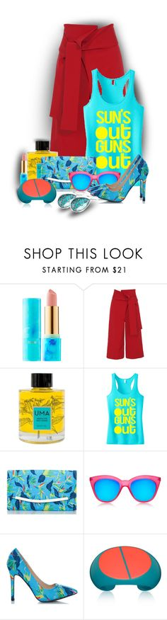 """Pretty in Print"" by sarahguo ❤ liked on Polyvore featuring tarte, TIBI, Uma Oils, Fiebiger, Le Specs and Ippolita"