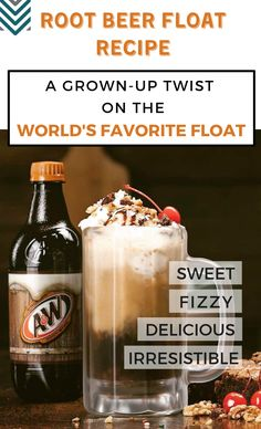 Nobody can resist a glass of Root Beer Float. Make your drink a lot more fun by trying this Root Beer Float Recipe specially made for adults! New Year's Drinks, New Year's Eve Cocktails, Prosecco Cocktails, Alcohol Bar, Best Alcohol, New Year's Eve Punch, Beer Benefits, Homemade Liquor, Cocktail Ingredients