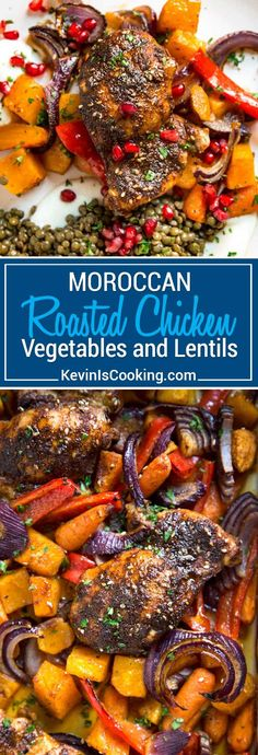 Moroccan Roasted Chicken starts with a rub of warm spices that include cinnamon, cumin, chili and mint. Roasted on top of fall vegetables all in one pan! #chicken #sheetpandinner