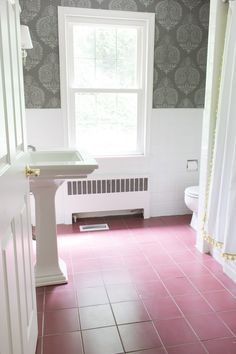 "PAINT CERAMIC TILE FLOORS  ""Before"" of bathroom before ceramic floor tiles were painted gray. Such a huge difference!"
