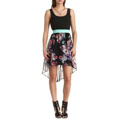 Charlotte Russe Bow-Back Floral High-Low Dress