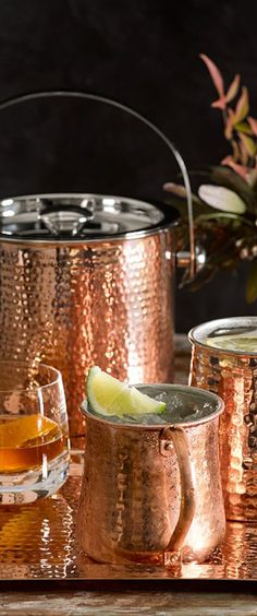 Bar Accessories for the Home Bar Copper Bar, Copper Kitchen, Copper Decor, Terracotta, Small Bars For Home, Home Bar Accessories, Mottos To Live By, Gin Bar, Champagne Buckets