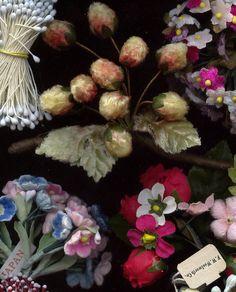 Vintage Millinery Lot Flowers Fruit Velvet Stamens Hats Dolls Trims | eBay