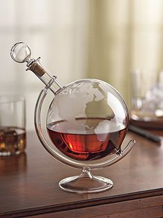 Etched Globe Booze Decanter