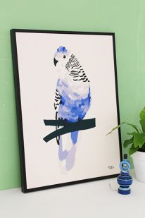 #nordic #design #graphic #illustration #danish #bright #simple #nordicliving #living #interior #kids #room #poster #bird #blue #feathers in Michelle Carlslund Illustration