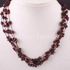 """5X8MM Chip Beads Nylon Line Weave Garnet Necklace 19"""" 1Pcs E076"""