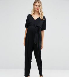 ASOS Maternity TALL Belted Jumpsuit with Kimono Sleeve - Black