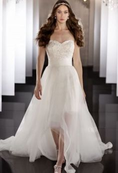 Tulle Sweetheart Neckline 2 in 1 Wedding Dress with Beading Bodice