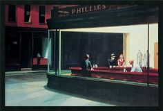 'Nighthawks' by Edward Hopper Framed Painting Print