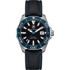 75758d7f9b1 TAG Heuer Men s Aquaracer 41mm Automatic Calibre 5 Black Dial Watch with  Black and Blue Strap