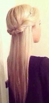 Twisted half up half down straight hair #gorgeoushair
