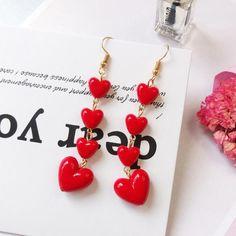 Korean Style Lovely Heart Pendant Long Tassel Earrings Red Peach Heart Drop Earrings For Women Girls Best Gift Wholesale Long Tassel Earrings, Red Earrings, Heart Earrings, Bridal Earrings, Fashion Earrings, Statement Earrings, Unique Earrings, Beaded Earrings, Diamond Earrings