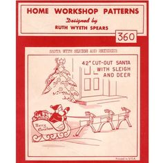 Vintage 1950's Christmas Lawn Ornament Home Workshop Patterns...wooden Rooftop…
