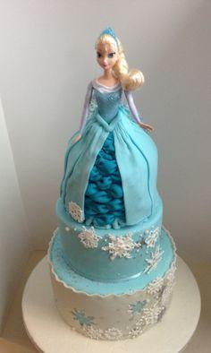 Frozen Cake, Princess Elsa doll cake By K&J Cakes Www.facebook.com/kjcakeskc