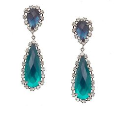 Brinco Gotas de Cristal Azul e Verde