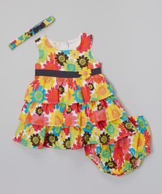 Pink & Yellow Floral Tiered Dress Set - Infant | zulily