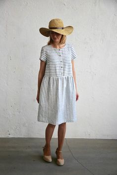 Linen dress in white and blue stripes. Made of OEKO tex certified organic linen, softened (washed).