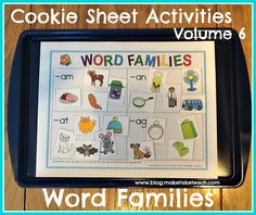 Cookie Sheet Activities Volume 6- Word Families.  Great for centers!  Free sample templates for use on your cookie sheets.