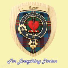 Clan Logan Tartan Woodcarver Wooden Wall Plaque Logan Crest 7 x 8