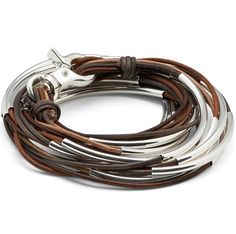 The Lizzy Too 6 strand leather wrap bracelet can also be worn as a necklace. With sterling silverplate crescents and multi-colored leather strands this artisan