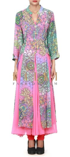 Buy Online from the link below. We ship worldwide (Free Shipping over US$100) Price-$79 Click Anywhere to Tag http://www.kalkifashion.com/pink-long-printed-kurti-with-fancy-buttons-only-on-kalki.html