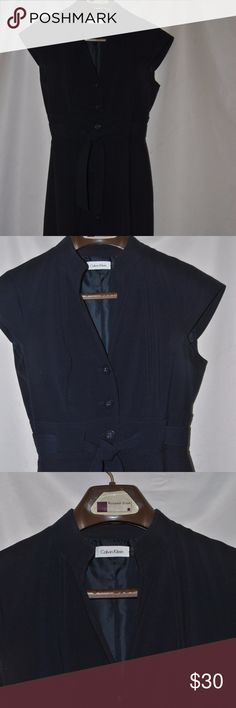 Navy blue Calvin Klein button up dress Great condition. Dry clean only Calvin Klein Dresses
