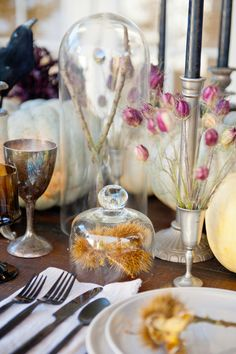 TWINK + SIS HALLOWEEN DINNER PARTY — Twink + Sis #tablescape #chestnut #raven #potterybarn #placesetting #candlestick #blackflatware