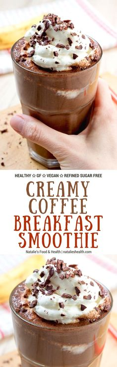 7 Coffee Smoothies That Will Change Your Morning Creamy and energizing Coffee Breakfast Smoothie full of dark chocolate and coffee flavors. This smoothie is full of nutrients. Perfect meal to start the day! Smoothie Drinks, Healthy Smoothies, Healthy Drinks, Smoothie Recipes, Morning Smoothies, Healthy Shakes, Healthy Eating, Oat Smoothie, Keeping Healthy