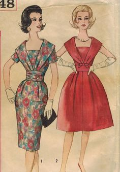 1960s Simplicity 3748 Vintage Sewing Pattern Misses Cocktail Dress and Cummerbund Size 14 Bust 34