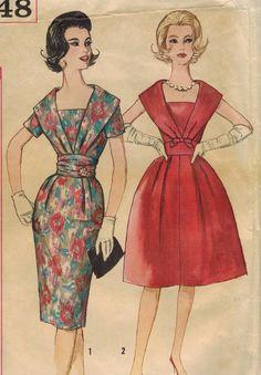 1960s Simplicity 3748 Vintage Sewing Pattern Misses Cocktail Dress and Cummerbund Size 14 Bust 34