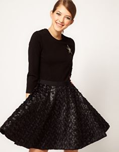 Markus Lupfer Skirt Circle Dress With Star Brooch