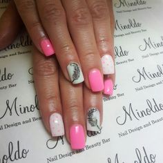 #gelnails #feathers #pinknails