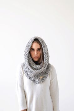 hood scarf . crochet hood scarf . snood scarf . knit hood . hooded scarf . crochet cowl . knit cowl  / The ADELPHI Cowl /  pictured: Marble