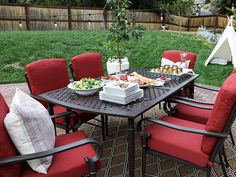 Hampton Bay Oak Cliff 7-Piece Metal Outdoor Dining Set with Chili Cushions #homedepotstylechallenge #patiostylechallenge